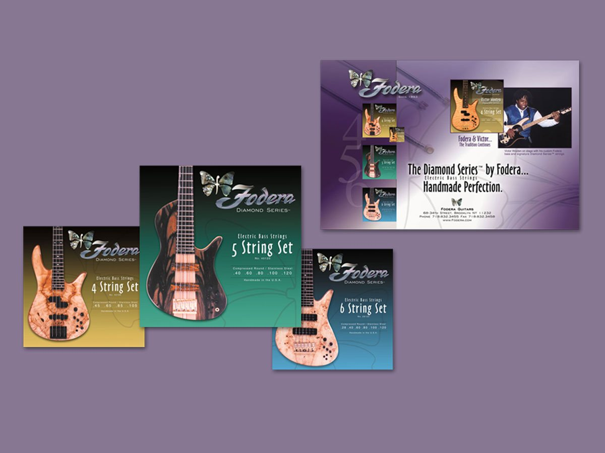 Bass guitar string package design for luthier - by Fervr Design