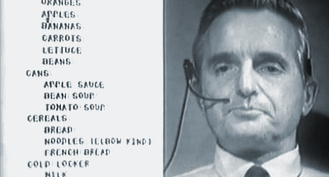 Early computer and Internet pioneer, Douglas Engelbart, gives his landmark 1968 demonstration.
